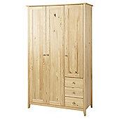 Skandi Triple Wardrobe with 3 Drawers, Natural Pine
