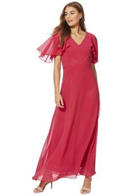Mela London Flute Sleeve Maxi Dress Hot Pink 10