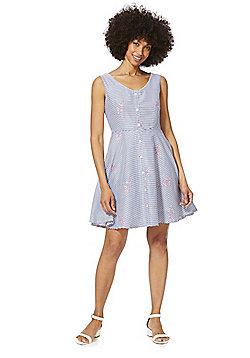 Mela London Striped Button-Down Dress - Blue/White