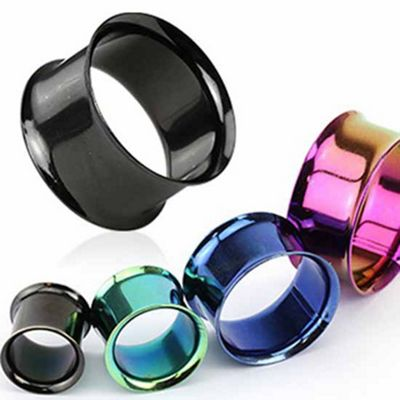Urban Male Pack of Four Titanium Anodised Ear Stretching Flesh Tunnels Double Flared 10mm