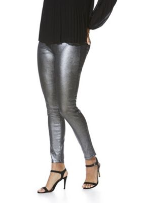 F&F Glitter Mid Rise Skinny Jeans 6 Short leg Silver