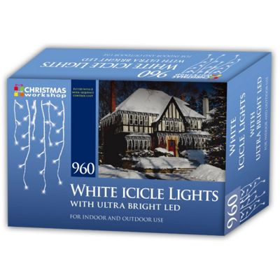 Christmas Workshop Bright White 960 LED Icicle Xmas Lights Indoor and Outdoor Use