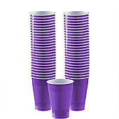 Purple Cups - 355ml Plastic Party Cups - 50 Pack