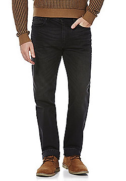 F&F Pre-Washed Straight Leg Jeans - Black
