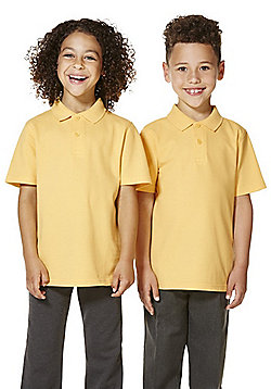 """F&F School 2 Pack of Boys Teflon EcoElite""""™ Polo Shirts with As New Technology - Yellow"""
