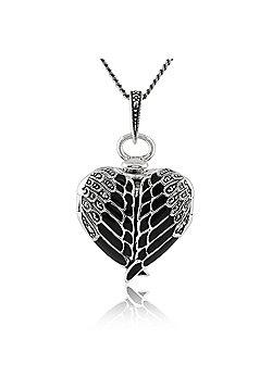 Gemondo Sterling Silver Marcasite & Black Enamel Winged Heart Locket 45cm Necklace