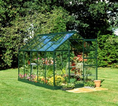 Halls 6x10 Popular Greenframe Greenhouse + Green Base-frame - Horticultural Glass