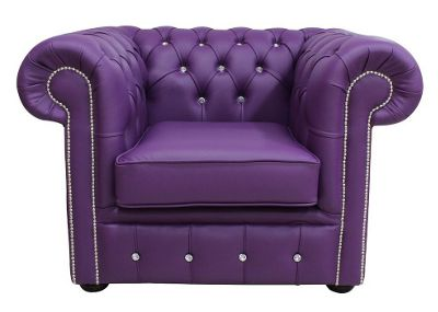 Chesterfield CRYSTALLIZED™ Elements Low Back ArmChair Wineberry Purple Leather