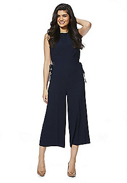 F&F Lace-Up Detail Wide Leg Jumpsuit - Navy