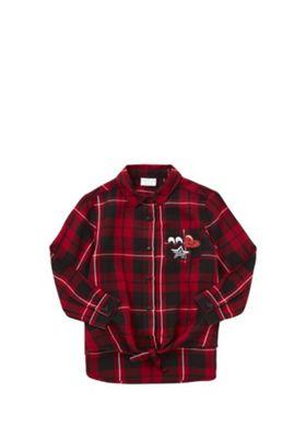 F&F Badge Detail Checked Tie Waist Shirt 4-5 years Red
