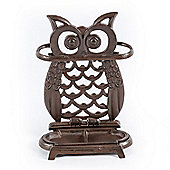 Homescapes Brown Cast Iron Decorative Owl Umbrella Stand