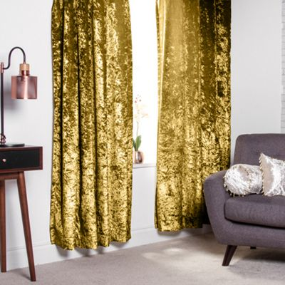 Chartreuse Crushed Velvet Heavyweight Curtains 66
