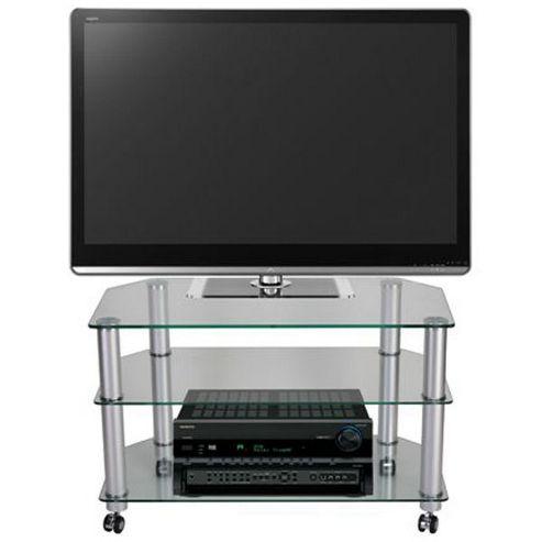 STUK 1401 Mellan Clear Glass TV Stand with Castors