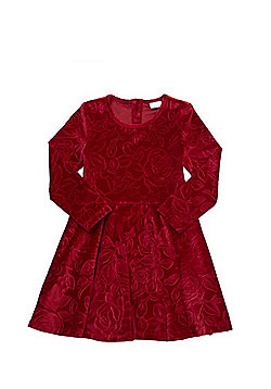 F&F Floral Flocked Velour Dress - Red