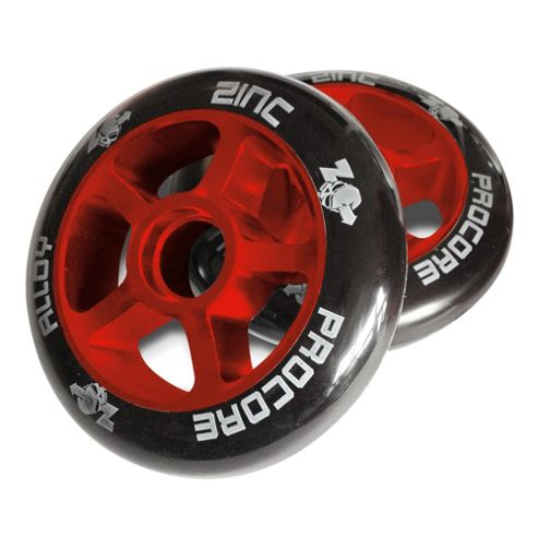 Pro Core 2 x 100mm CNC Alloy High Bounce Scooter Wheels, Red