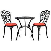 Bentley Garden Furniture Cast Aluminium Bistro Set -Black With Red Cushions