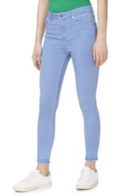 F&F Contour Let-Down Hem High Rise Skinny Jeans with LYCRA® BEAUTY Blue 8 Long leg