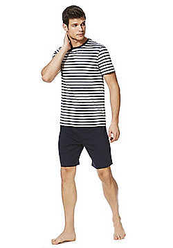 F&F Striped Marl Loungewear Set - Grey & Navy