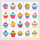 Cool Cupcakes Temporary Tattoos for Children - Fun Toy Party Bag Filler Loot Gifts for Kids (Pack of 24)
