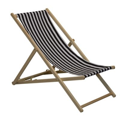 Traditional Adjustable Garden / Beach-style Deck Chair - Black / White Stripe