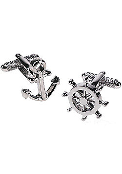 Ships Anchor and Wheel Novelty Themed Cufflinks