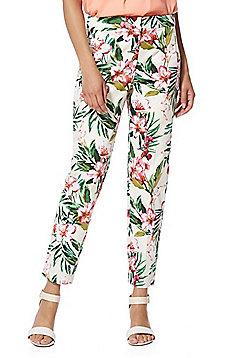 F&F Tropical Floral Print Ankle Grazer Mid Rise Slim Leg Trousers - Multi