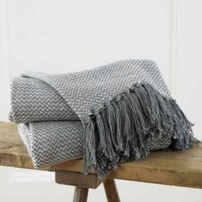 Opus Herringbone Design Throw 228 x 254cm - 100% Cotton - Grey