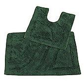 Homescapes Luxury Two Piece Bath Mat Set Bottle Green