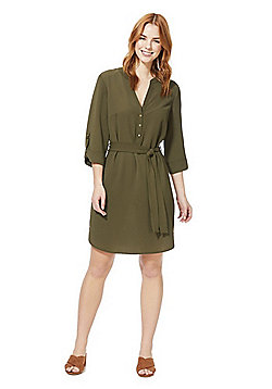 F&F Crepe Shirt Dress - Khaki
