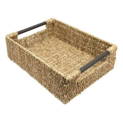 Woodluv Seagrass Storage Basket With Wood Handles - Extra Large