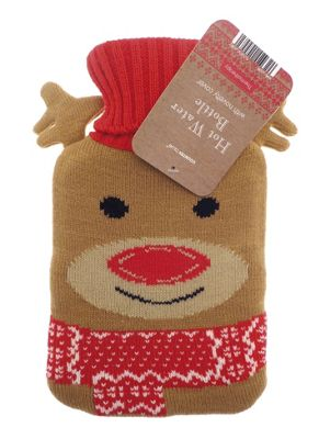Country Club Polar Fun Hot Water Bottle with Reindeer Cover