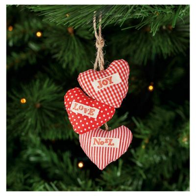 Tesco Red Hearts with Text Hanging Decoration