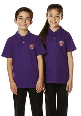 Unisex Embroidered School Polo Shirt Purple 8-9 years