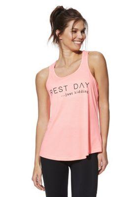 F&F Active Rest Day Slogan Vest Top Pink L