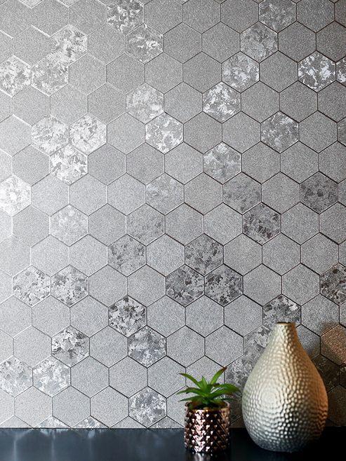 Foil Honeycomb Wallpaper Silver Arthouse 2947000