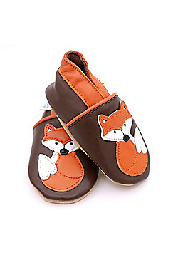 Dotty Fish Soft Leather Baby Shoe - Freddie the Fox - Brown