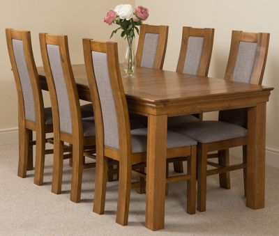 French Rustic 180cm Fixed Solid Oak Dining Table & 6 Solid Rustic Oak Chairs