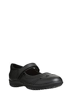 F&F Scuff Resistant Leather Star Appliqu© School Shoes - Black