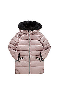 F&F Long Line Padded Jacket - Pink