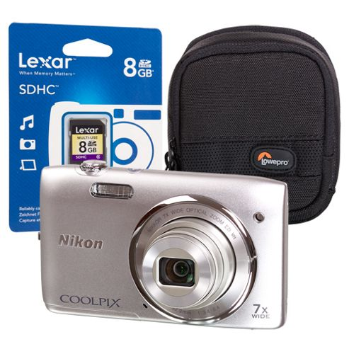 Nikon Coolpix S3500 Silver Camera Kit inc 8GB SD Card and Case