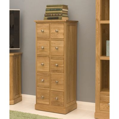 Mobel Oak Multi-Drawer DVD - CD Storage Chest