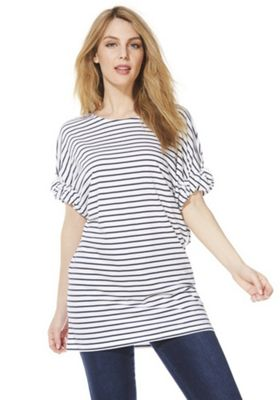 F&F Striped Knot Sleeve Tunic Top White/Navy 14
