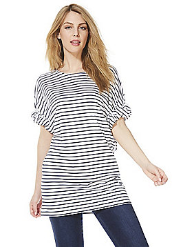 F&F Striped Knot Sleeve Tunic Top - White/Navy