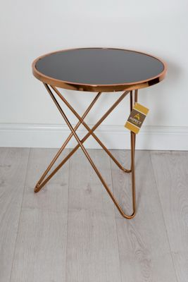 Porto Round Side/Coffee/End/Lamp Table, Metal, Copper/Black