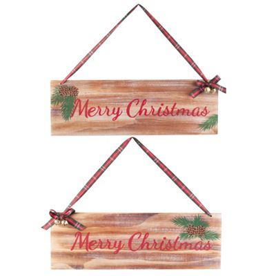 Pair of Traditional Wooden 'Merry Christmas' Hanging Plaque Signs