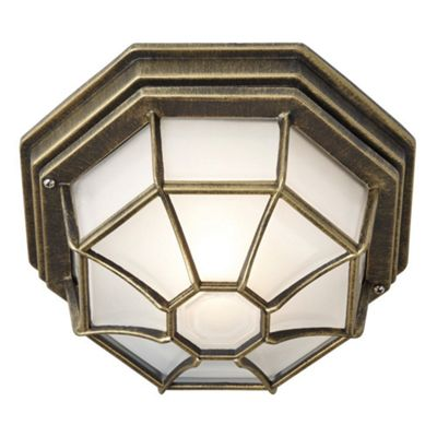 Hexagonal Black/Gold Ceiling Porch Light with Glass Diffuser