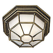 Hexagonal Black/Gold Flush Ceiling Porch Light with Frosted Glass Diffuser
