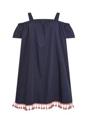 Junarose Tassel Trim Plus Size Bardot Dress Navy 28