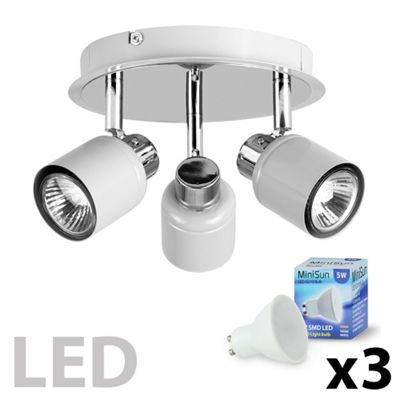 Benton 3 Way Round LED Ceiling Spotlight, Grey
