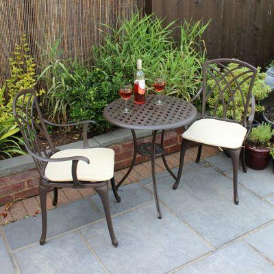Charles Bentley Cast Aluminium Bistro Set   Beige Cushions. Metal Garden Furniture   Garden   Tesco